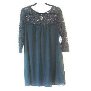 Baby doll style lace dress dark  green color XL